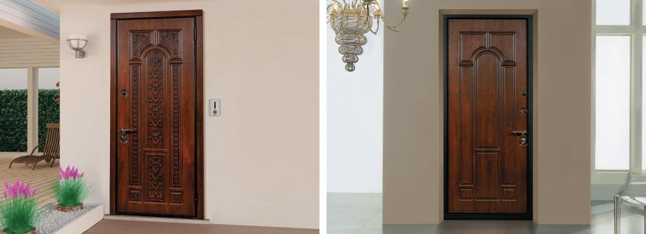 входные двухстворчатые металлические двери в квартиру